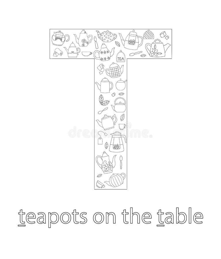 Svartvit alfabetbokstav T abcflashcard stock illustrationer