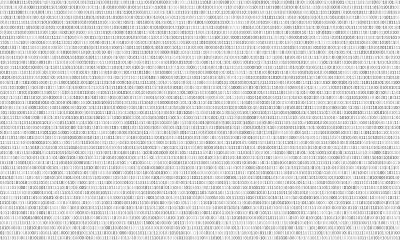 Svartvit bakgrund för binär kod med två binära siffror, 0 och 1 på en vit bakgrund Kod för binära data för algoritm, royaltyfri illustrationer