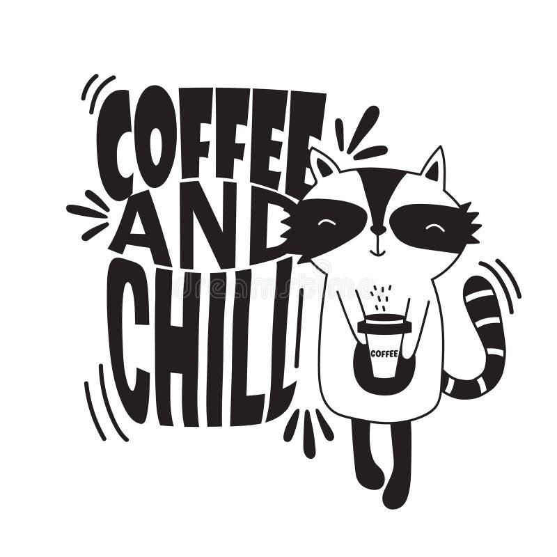 Svartvit bakgrund med den lyckliga tvättbjörnen och engelsk text Kaffe och kyla vektor illustrationer
