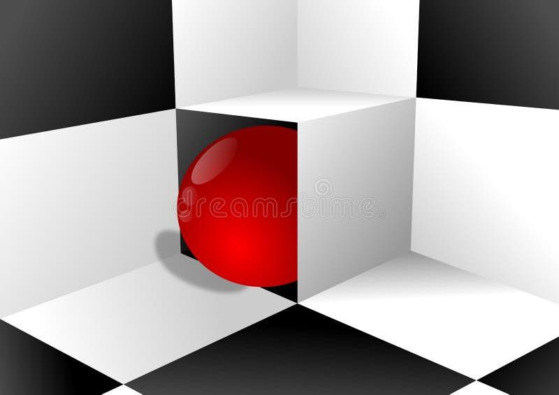 Svartvit bakgrund och röd boll vektor illustrationer