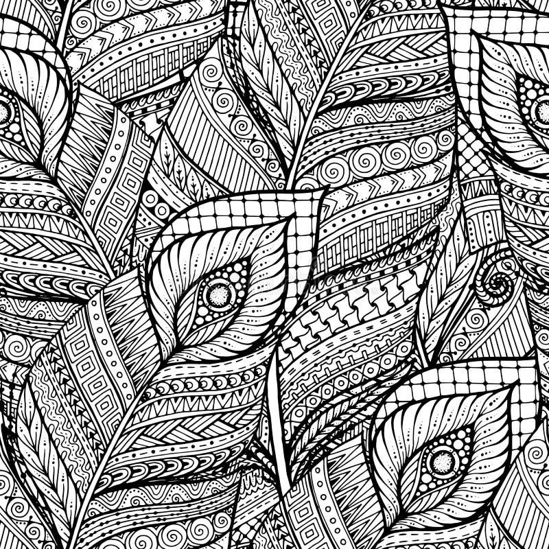 Svartvit bakgrundsmodell för sömlöst asiatiskt etniskt blom- retro klotter i vektor med fjädrar royaltyfri illustrationer