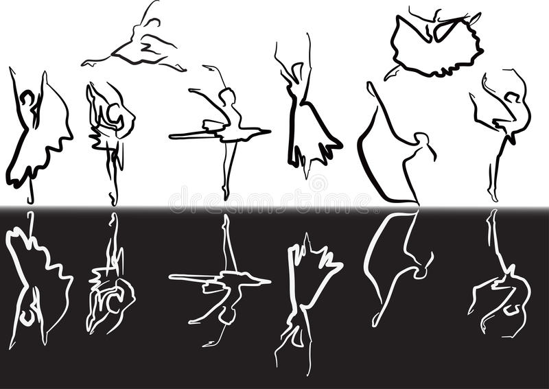 Svartvit balett skissar royaltyfri illustrationer