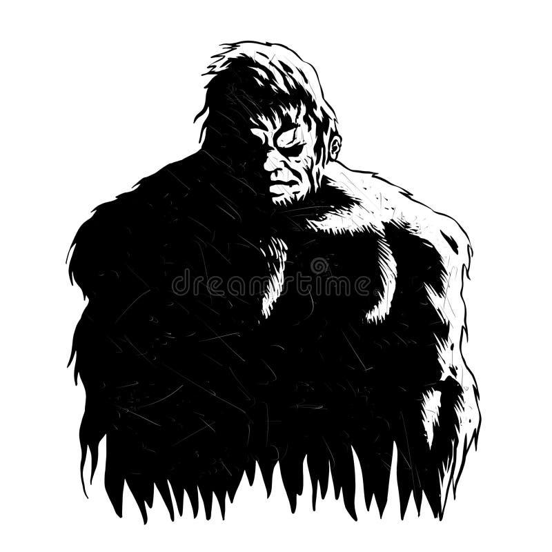 Svartvit Bigfoot skugga stock illustrationer