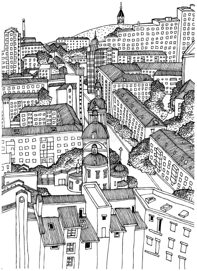 Svartvit bild av staden av Krasnoyarsk från en höjd Goda för online-publikationer, sociala nätverk och annan publicati vektor illustrationer