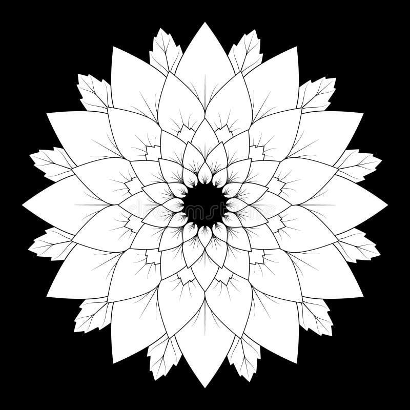 Svartvit blom- naturlig mandalabakgrund för vektor - vuxen sida för färgläggningbok vektor illustrationer