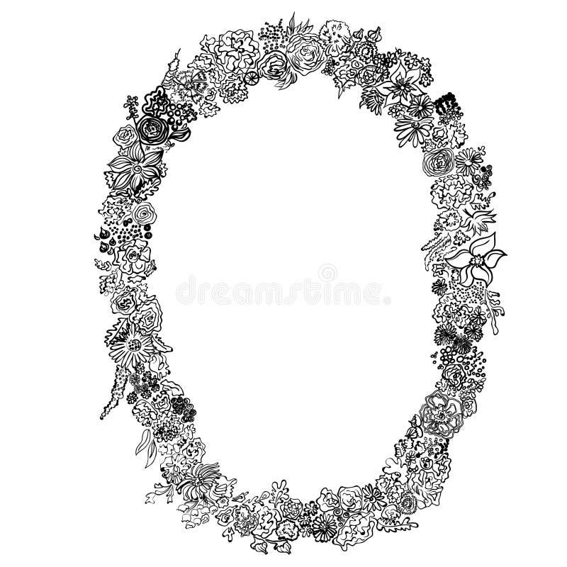 Svartvit blom- oval ram för vektor av spiral, virvlar, klotter royaltyfri illustrationer