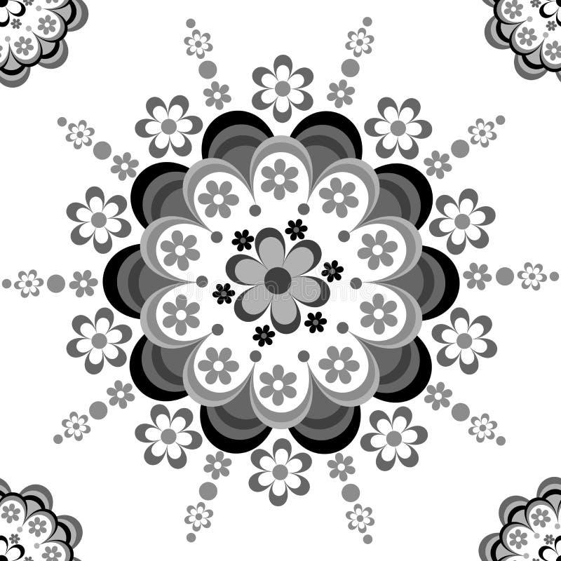 Svartvit blom- sömlös modell för keramiskt, porslin, chinaware stock illustrationer