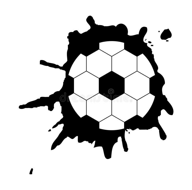Svartvit boll för abstrakt vektorillustration på grungebakgrund royaltyfri illustrationer