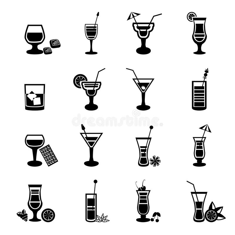 Svartvit coctailsymbolsuppsättning royaltyfri illustrationer