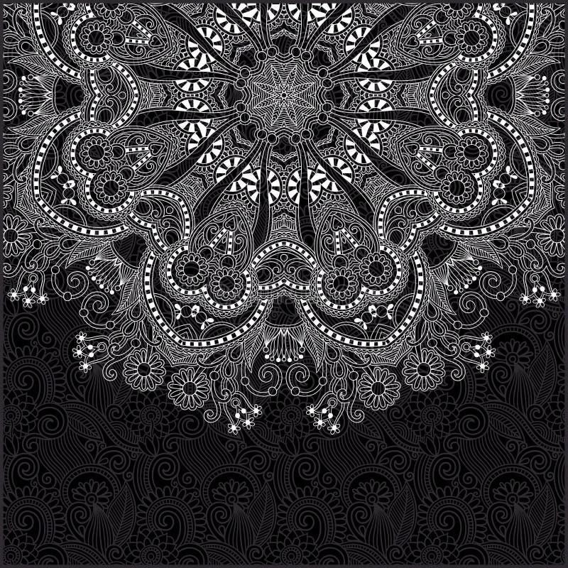 Svartvit dekorativ cirkelmall vektor illustrationer
