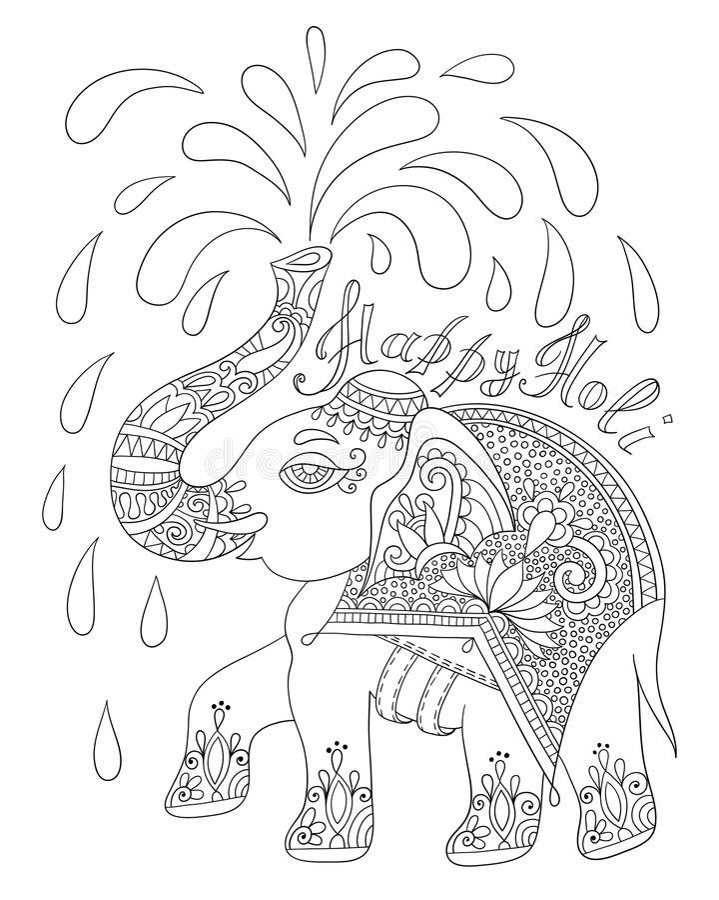 Svartvit dekorativ elefant med lycklig helgedom för inskrift stock illustrationer