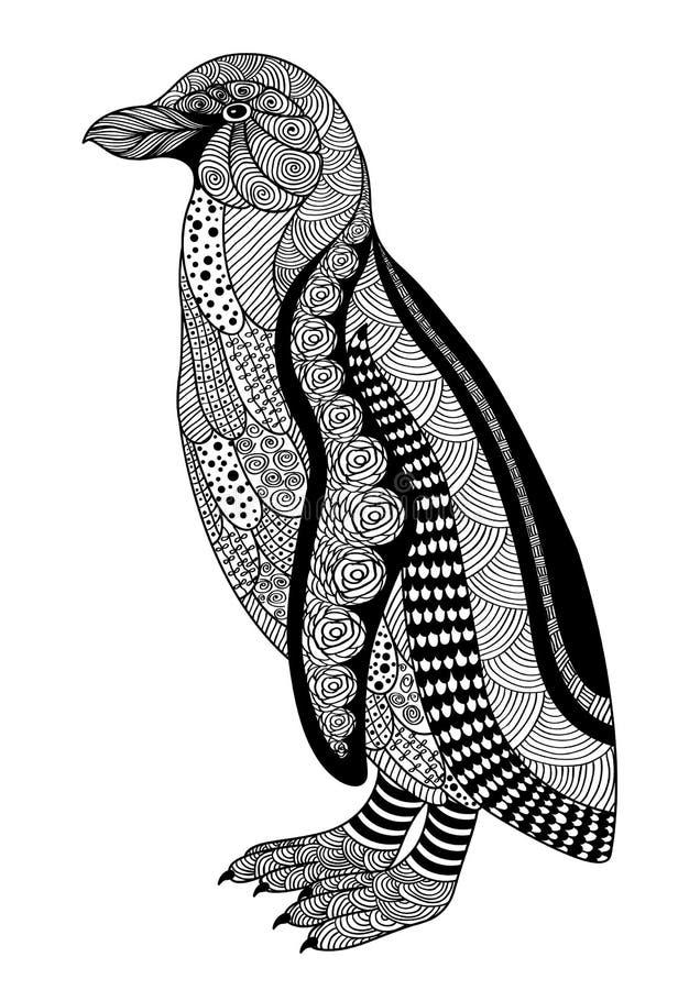 Svartvit dekorativ pingvin för Zentangle stil på vita lodisar royaltyfri fotografi
