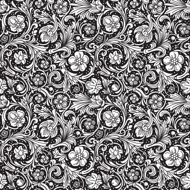 Svartvit dekorativ sömlös vektormodell vektor illustrationer