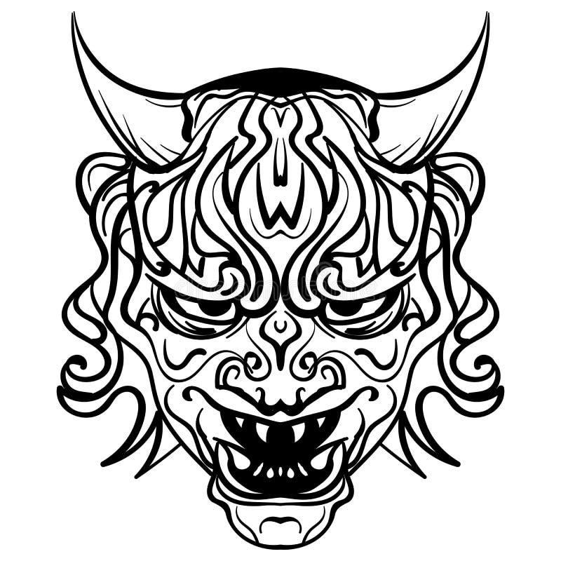 Svartvit demon för vektor med horn stock illustrationer