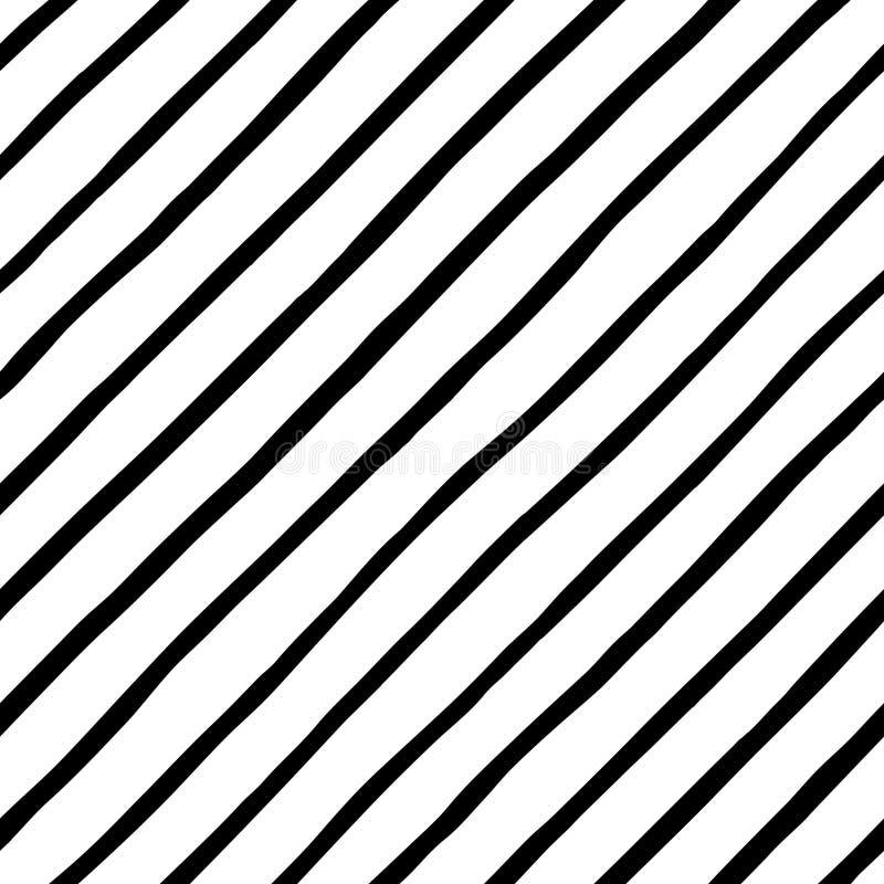 Svartvit diagonal hand drog klotterstilband royaltyfri illustrationer
