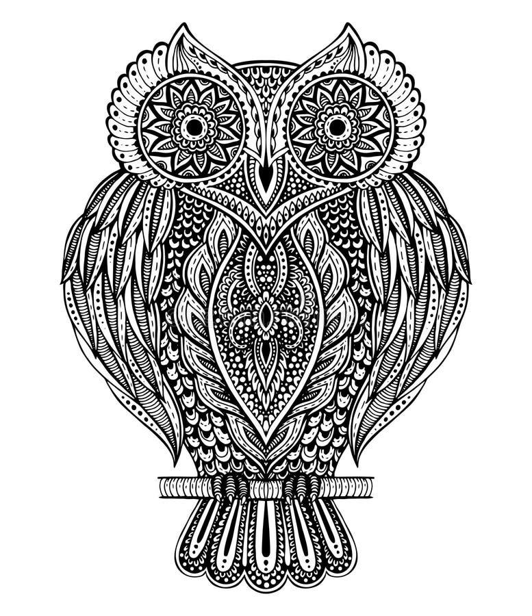 Svartvit dragen utsmyckad uggla för vektor hand royaltyfri illustrationer