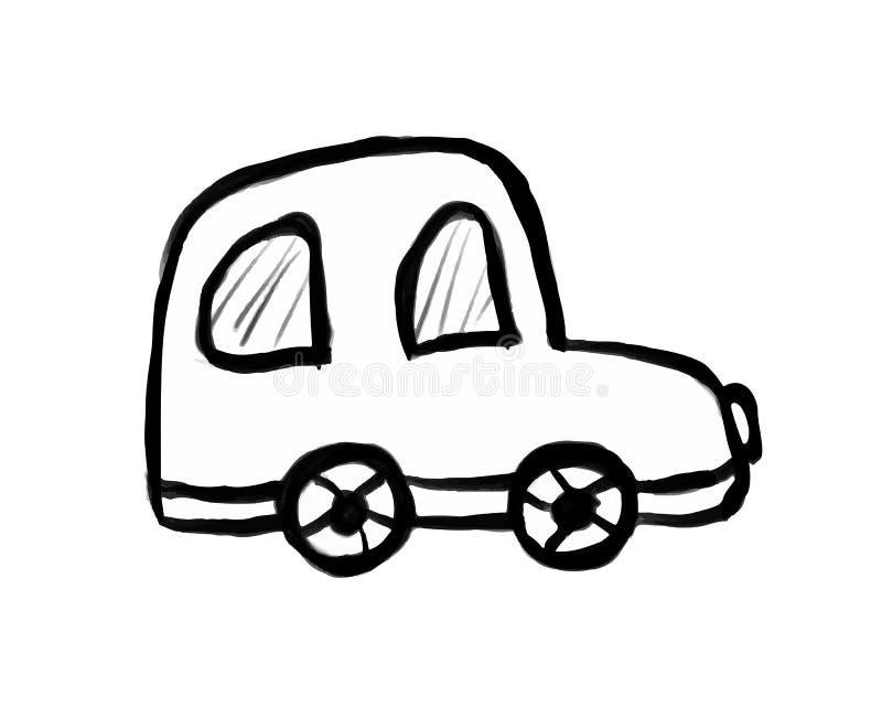 Svartvit dragen vektorillustration för bil hand, tecknad film stock illustrationer