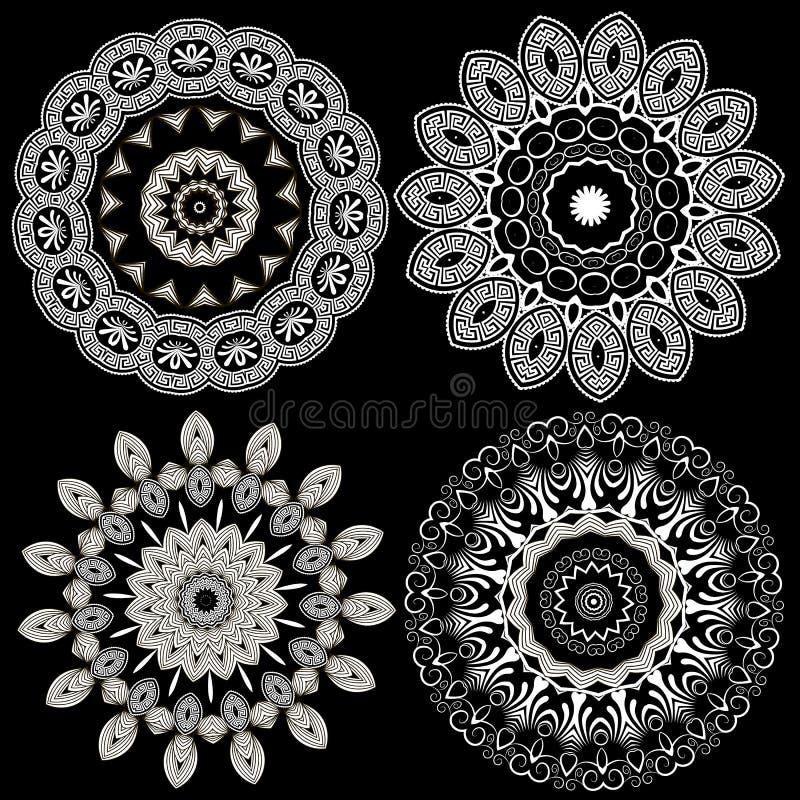 Svartvit elegansgreklinje konstmandalasuppsättning Tangenten för den dekorativa rundan för vektorn slingrar den grekiska blom- mo royaltyfri illustrationer