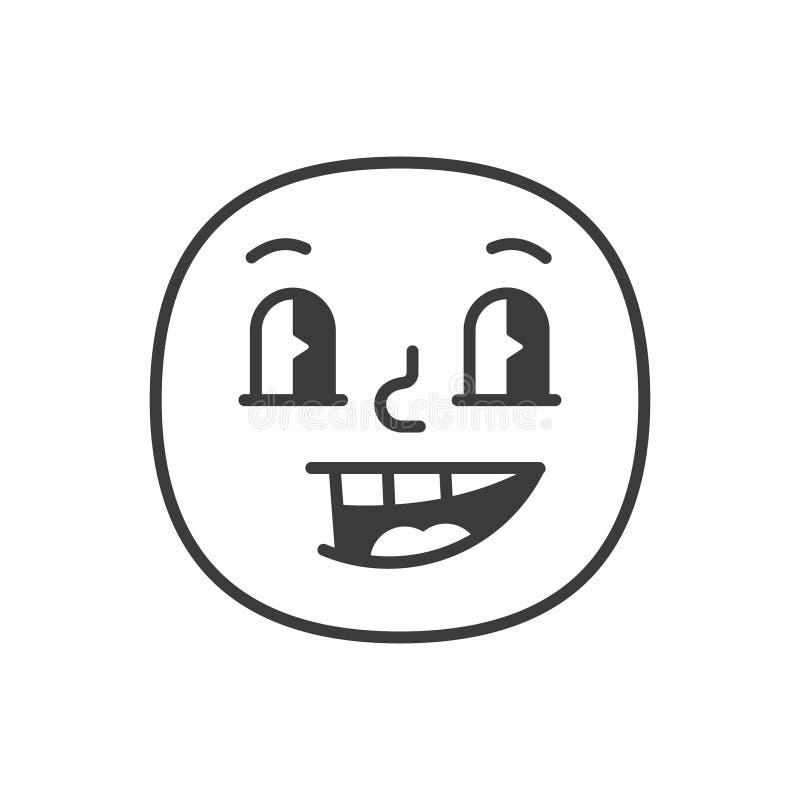 Svartvit emoji för glad leendefase Vektor EPS 10 stock illustrationer