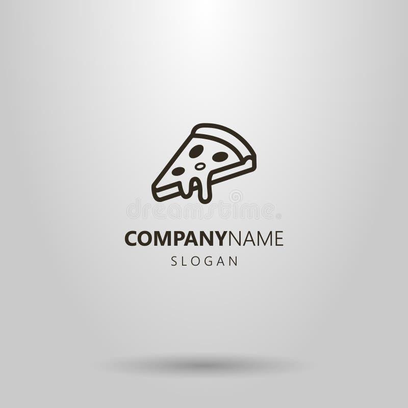 Svartvit enkel logo för vektorpizzaskiva royaltyfri illustrationer