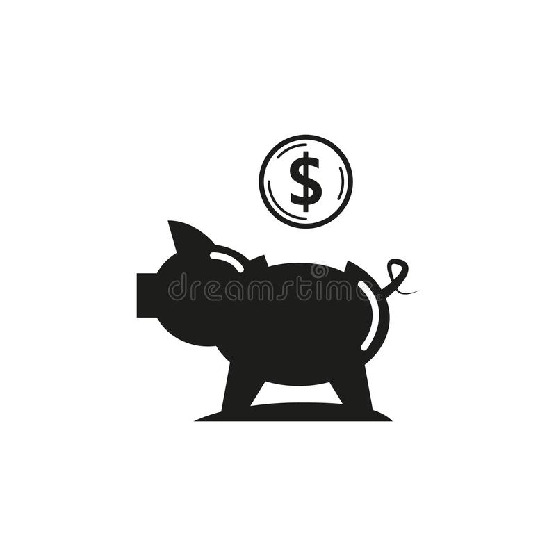 Svartvit enkel symbol för översiktsvektorspargris stock illustrationer