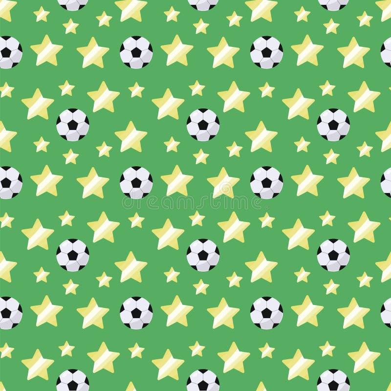 Svartvit enkel volymetrisk fotbollboll med en ilsken blick och gulingstjärnor som upprepar den ljusa sömlösa modellen som är spor stock illustrationer