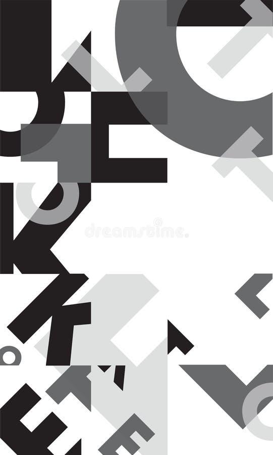 Svartvit entonig typografisk affischbakgrundsmall stock illustrationer