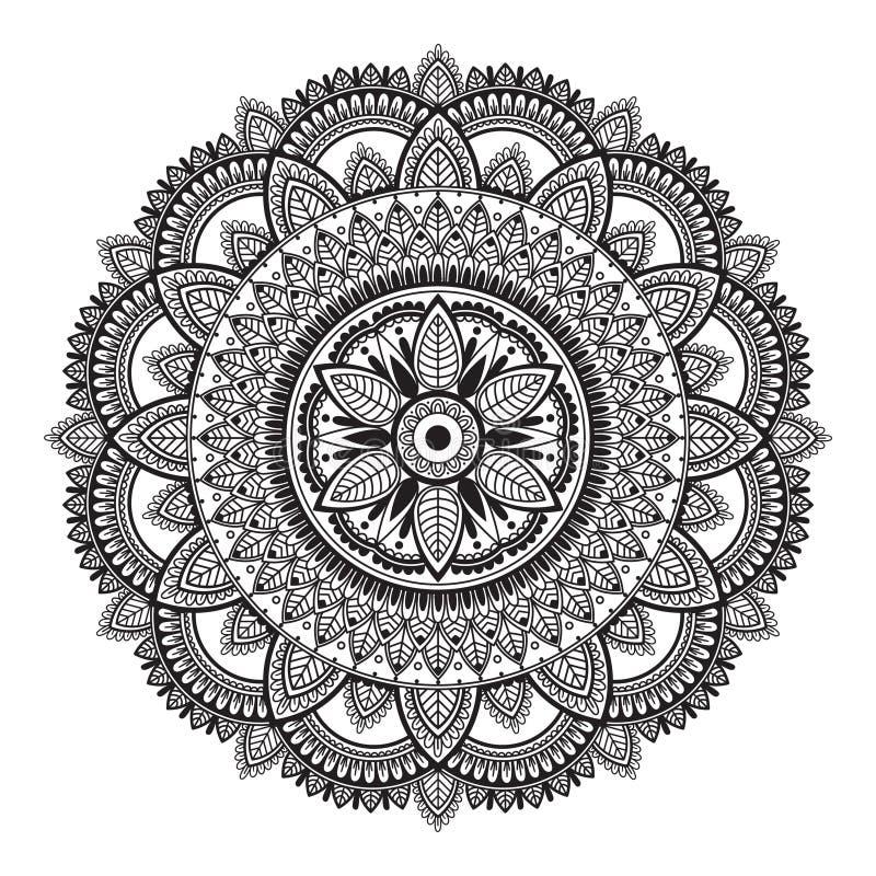 Svartvit etnisk mandala på vit bakgrund Rund dekorativ modell stock illustrationer