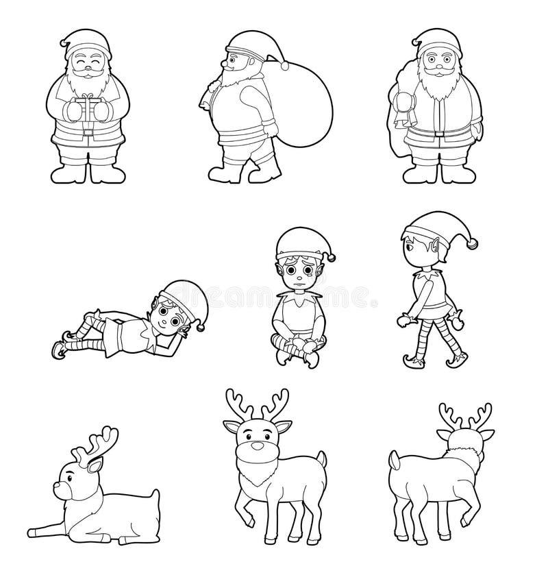 Svartvit färga Santa Elf Reindeer Various Poses för jultecken tecknad film stock illustrationer