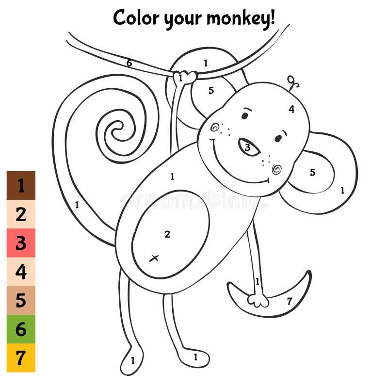 Svartvit färgläggning med den gulliga apan vektor illustrationer
