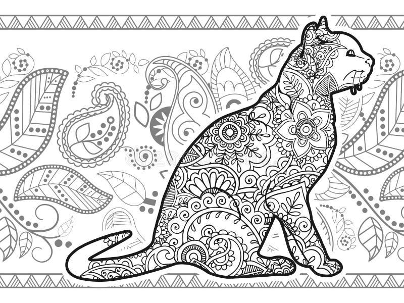 Svartvit för paisley för klotter för katt hand dragen djur zentangle för sida för färgläggning för frigörare vuxen spänning royaltyfri illustrationer