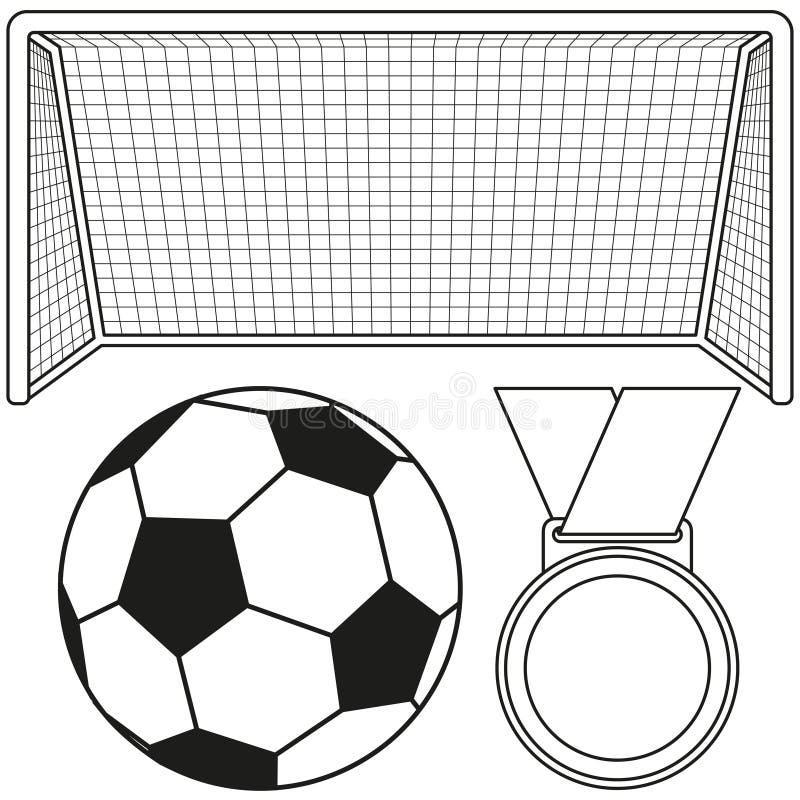 Svartvit fotbollboll, port, medaljsymbolsuppsättning royaltyfri illustrationer