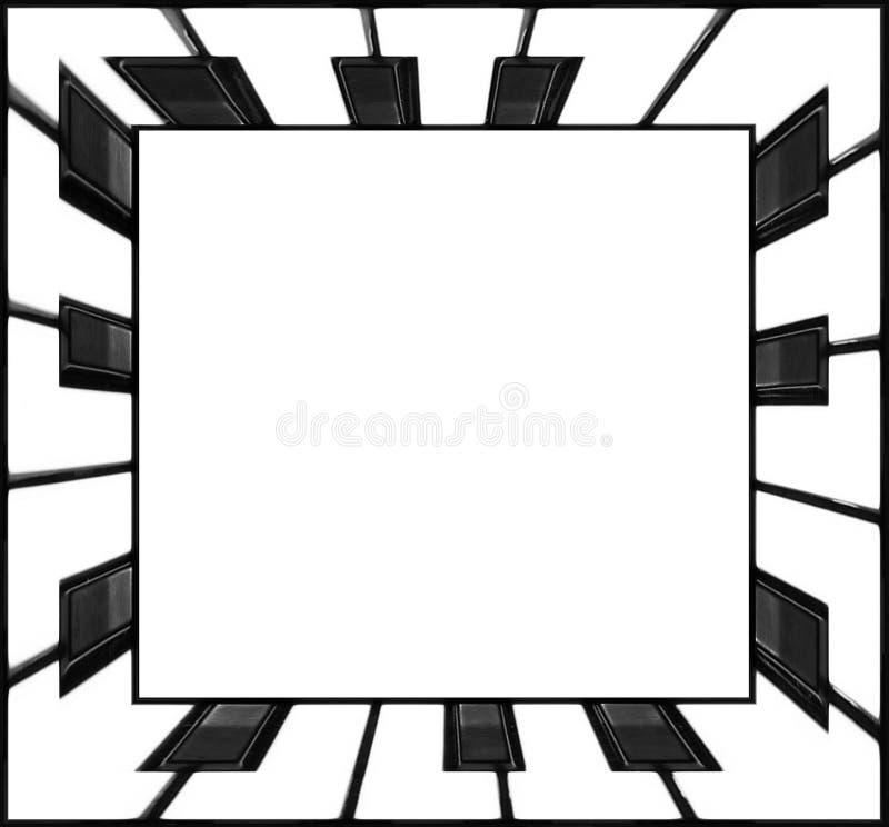 Svartvit fyrkantig ram för tangenter för rampianotangentbord Klassisk bakgrund för abstrakt begrepp för ram för pianotangentbord  vektor illustrationer