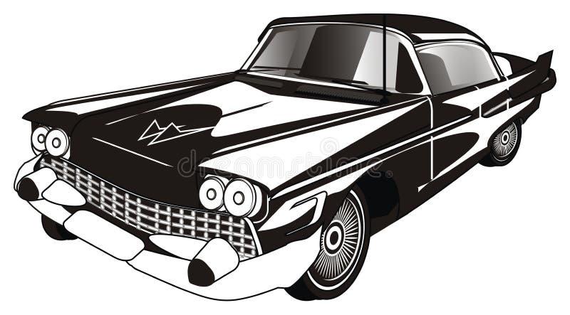 Svartvit gammal bil stock illustrationer