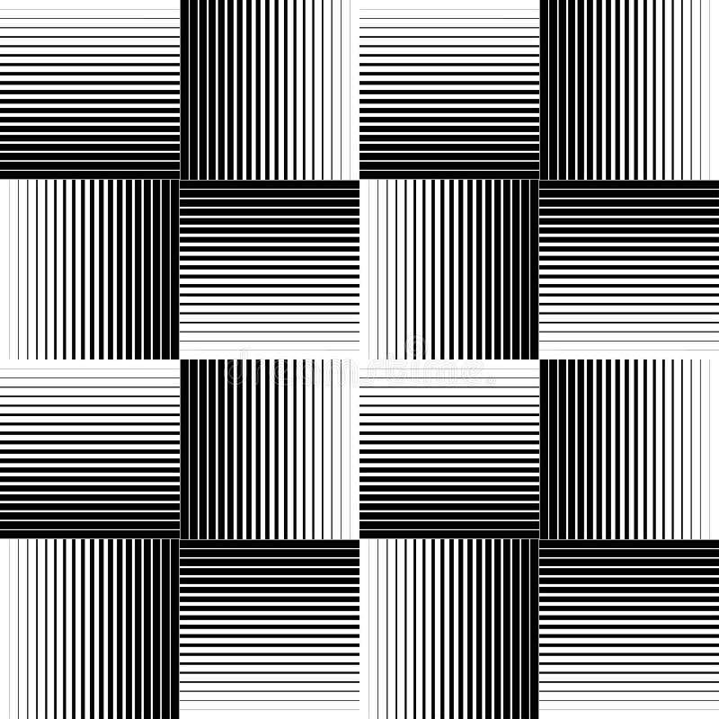 Svartvit geometrisk sömlös modell med linje, abstrakt b royaltyfri illustrationer