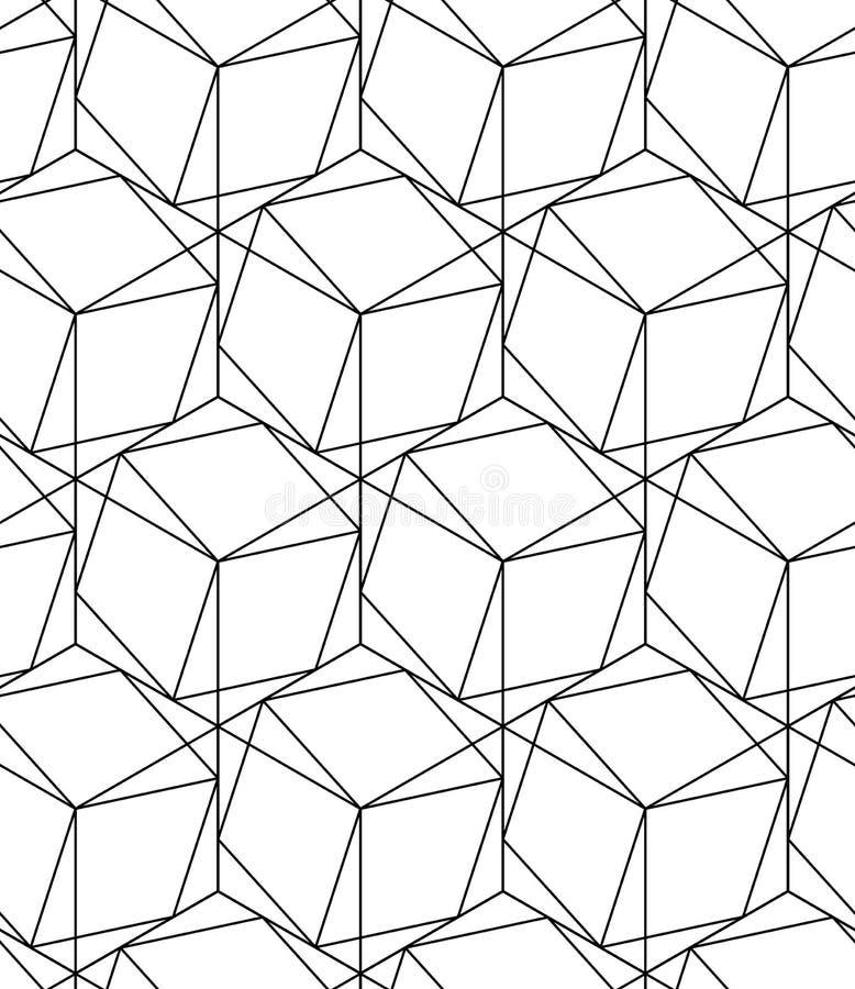 Svartvit geometrisk sömlös modell med linjen och sexhörning stock illustrationer