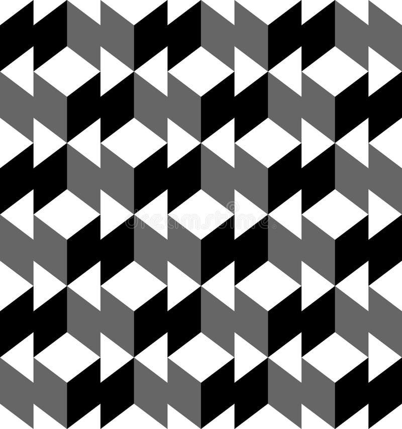 Svartvit geometrisk sömlös modell med triangeln och tra royaltyfri illustrationer