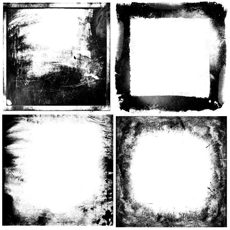 Svartvit grunge inramar bakgrunder vektor illustrationer
