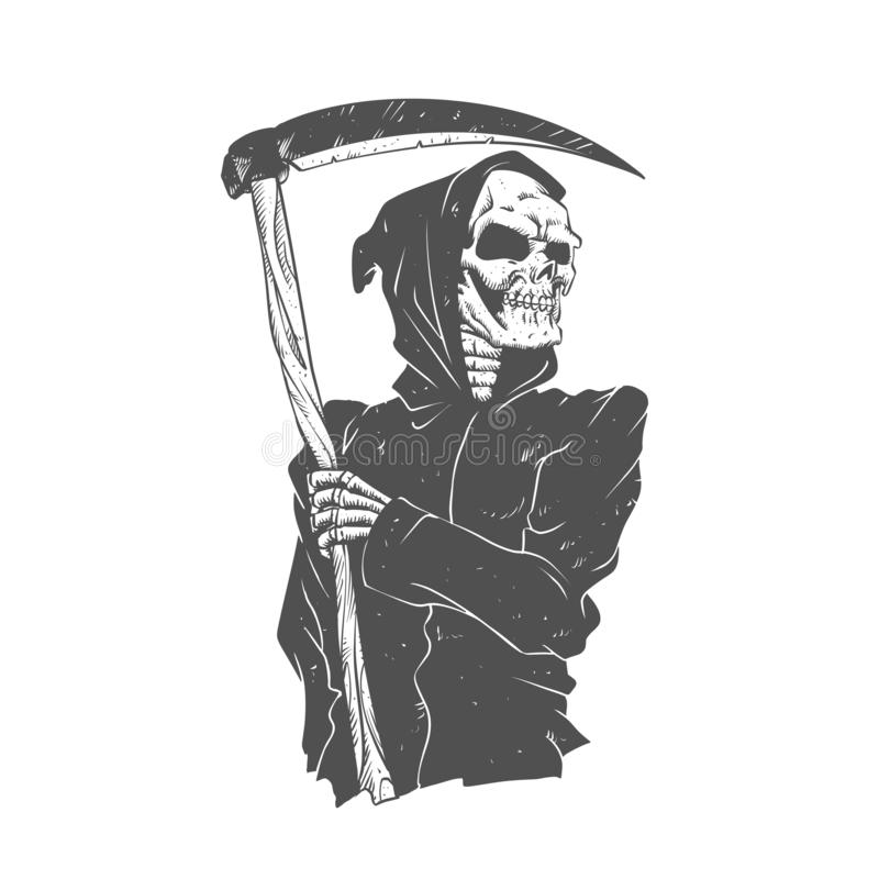 Svartvit grym skördemaskin royaltyfri illustrationer