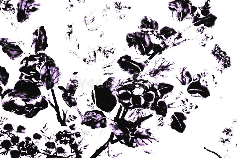 Svartvit härlig abstrakt textur de trädsidorna och fåglarna på den vit vägg isolerade modellbakgrund och tapeten royaltyfri illustrationer