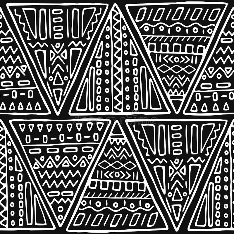 Svartvit handgjord stam- sömlös modell stock illustrationer