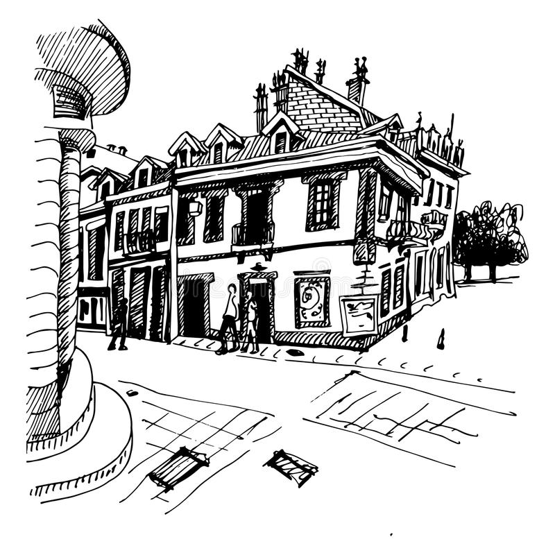 Svartvit handteckning av den Cetinje gatan - forntida huvudstad vektor illustrationer
