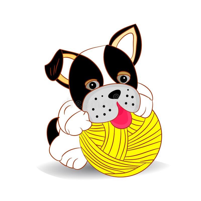 Svartvit hund som spelar med en boll av trådar, tecknad film på en vit bakgrund stock illustrationer