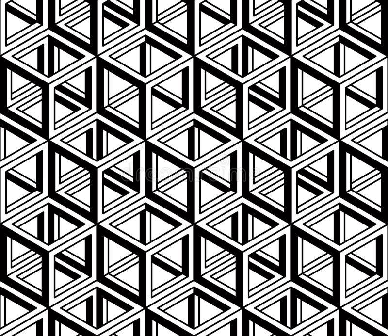 Svartvit illusive abstrakt geometrisk sömlös modell 3d royaltyfri illustrationer