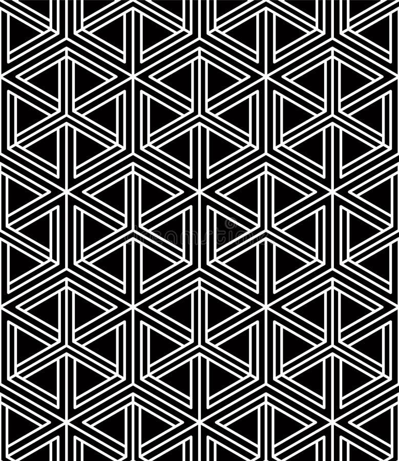 Svartvit illusive abstrakt geometrisk sömlös modell 3d Vektor stiliserad oändlig bakgrund vektor illustrationer