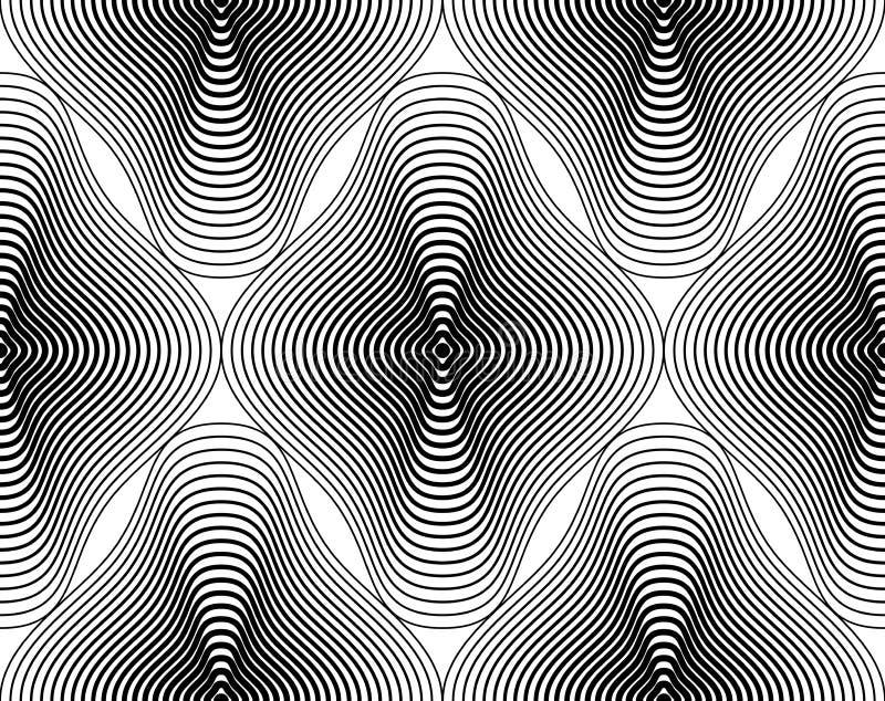 Svartvit illusive abstrakt sömlös modell med geometri royaltyfri illustrationer