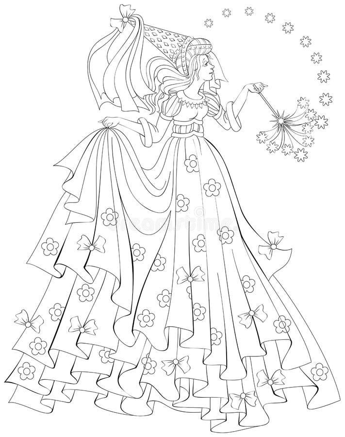 Svartvit illustration av den härliga felika hållande trollspöet för att färga Arbetssedel för barn och vuxna människor vektor illustrationer