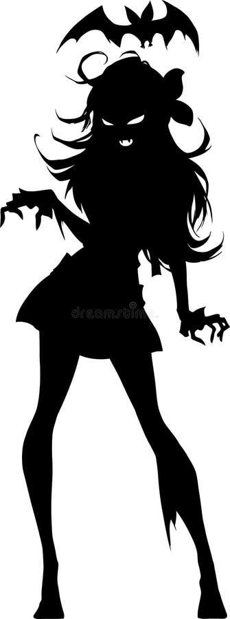 Svartvit illustration av en elegant vampyrflickakontur royaltyfri illustrationer