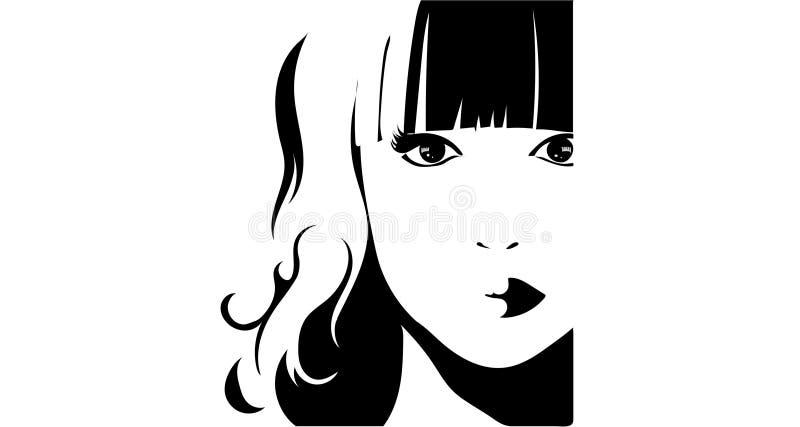 Svartvit illustration av en flicka stock illustrationer