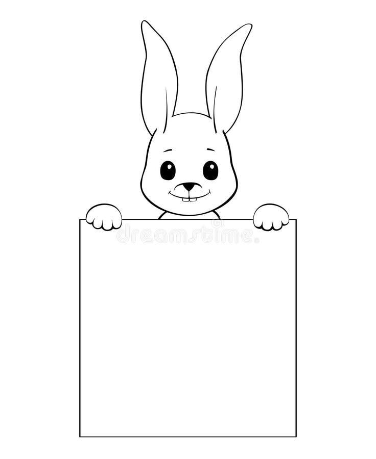Svartvit illustration av en kanin som rymmer ett tomt tecken royaltyfri illustrationer